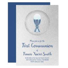 first communion   blue chalice invitation   Zazzle.com