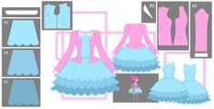 Princess Bubblegum blue dress and pink cardigan.