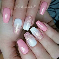 White And Pink Nail Designs Gallery pink and white gel nail design with glitter pink gel nails White And Pink Nail Designs. Here is White And Pink Nail Designs Gallery for you. White And Pink Nail Designs sweet soft pink nails with white glitter. Pink Gel Nails, Gel Nail Art, My Nails, Pink Nail Art, Pink White Nails, Nail Nail, How To Ombre Nails, Pink Sparkly Nails, Almond Nails Pink