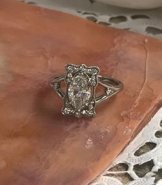 14k White Gold Marquise Diamond Ring by ArtNouveauObsession on Etsy