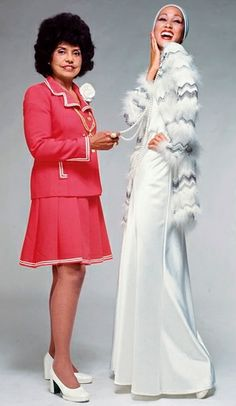 Eunice Johnson, co-founder/ executive of Johnson Publishing Company and founder/director of the Ebony Fashion Fair, with supermodel Pat Cleveland, 1972.