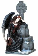 Gothic Mourning Angel Sitting By A Grave Statue - by Medieval Collectibles Fairy Statues, Fairy Figurines, Angel Statues, Gothic Angel, Gothic Fairy, Fantasy Dragon, Horror Art, Gothic Horror, Dark Fantasy Art