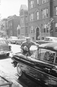 Keeping his 1960 Pontiac Cat convert looking good. I see a Studebaker across the street. Scanned with a Nikon Coolscan V ED. Chicago River, Chicago City, Chicago Style, Chicago Illinois, Humboldt Park, Old Photos, Vintage Photos, Chicago Neighborhoods, Chicago Photos