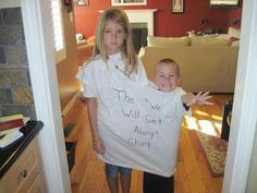 "The ""we will get along shirt"". Love it! Look at the little girl's face, she totally loves it lol"