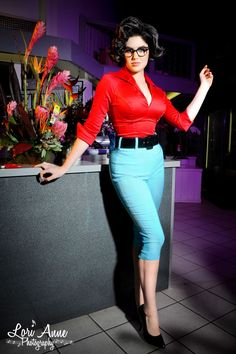 Deadly Dames Capri Pants in Baby Blue Bengaline - Available exclusively online at PinUpGirlClothing.com, the Deadly Curves capri