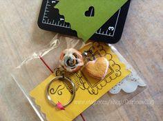 Polymer clay art key chain valentines gift cinnamon by CuriousGigi