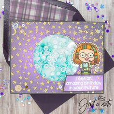 This project uses the World of Magic and Moons and Stars Stencil from Kindred Stamps. Check out my blog for more details on how I made this card!