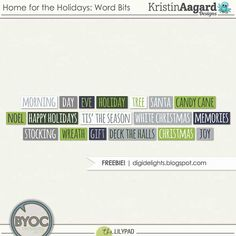 Quality DigiScrap Freebies: Home for the Holidays word art tutorial from Kristin Aagard