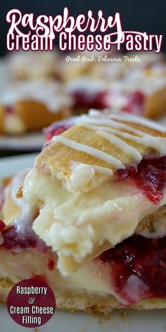 Raspberry Cream Cheese Pastry - Great Grub, Delicious Treats Raspberry Cream Cheese Pastry is a delicious pastry recipe made with raspberries and cream cheese. Köstliche Desserts, Desserts To Make, Delicious Desserts, Yummy Food, Baking Recipes, Cake Recipes, Dessert Recipes, Lunch Recipes, Breakfast Dessert