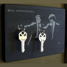 "Pulp Fiction Key Holder and Wood Mounted Wall Art. x ""Keys Motherf*cker"" Wood Projects, House Warming, Home Improvement, Geek Stuff, Crafty, Cool Stuff, Inspiration, Wall Wood, Key Holders"