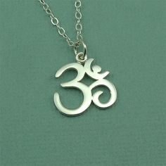 Script Om Necklace  sterling silver yoga jewelry  by TheZenMuse
