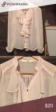 Womens sheer blouse Pale peach sheer blouse with ruffled front , super cute , never worn Tops Blouses