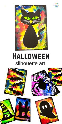 Arty Crafty Kids Silhouette Halloween Art for Kids. Choose from a selection of Halloween Template to create brightly coloured works of art! Halloween Party Kinder, Moldes Halloween, Halloween Templates, Theme Halloween, Manualidades Halloween, Halloween Tags, Fall Halloween, Halloween Makeup, Homemade Halloween