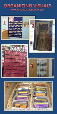 Autism Classroom News: Five Ways to Store Autism Visuals - Shoe holders, jewelry holders, baby food or pudding containers, ziploc bags, etc...