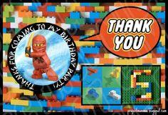 Ninjago Thank You Postcards for a Lego Party