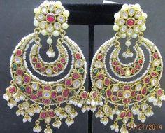 Lovely chandbali with cabochon rubies and pearl jhalar