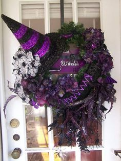 Purple and Black witches hat wreath