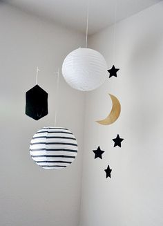 Moon and Stars Mobile // Gold and Black or Silver door HeydayFashion, $25.00