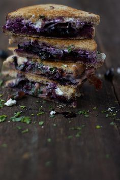 toastie w braised blueberries in balsamic, goats cheese,  prosciutto & rocket | jessica cox