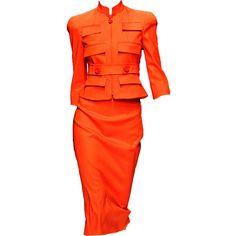 versace dress fall 2010 ❤ liked on Polyvore featuring dresses, vestidos, orange, suits, red orange dress, orange dress, versace dress, red dress and versace