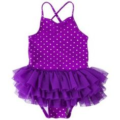 Polka dot bathing suit with purple tutus
