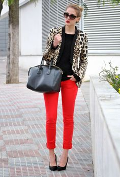 Stand out with a colored pant and a print on top