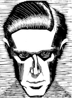M. C. Escher, Self-portrait, 17.5 x 13.1 cm, woodcut, 1919. Escher produced this powerful self-portrait when he was barely twenty. Expressionism was clearly all the rage.