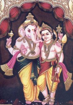 Kumar n Ganesha Mysore Painting, Tanjore Painting, Indian Gods, Indian Art, Ganesh Chaturthi Images, Shiva Parvati Images, Lord Shiva Family, Lord Murugan, Baby Krishna