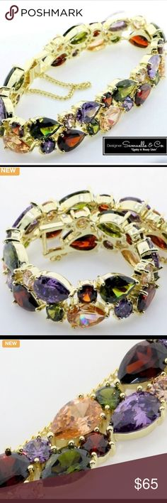 Genuine Multi Color Gemstones This beautiful bracelet is crafted in 18k yellow gold filled and contains 6.15ctw of yellow sapphire,garnet,amethyst,green tourmaline💥this is an amazing bracelet truly beautiful🌹💥 Designed by Samuelle and CO💥 Jewelry Bracelets
