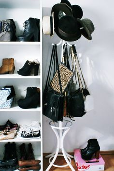 what a lovely way to hang purses & hats.
