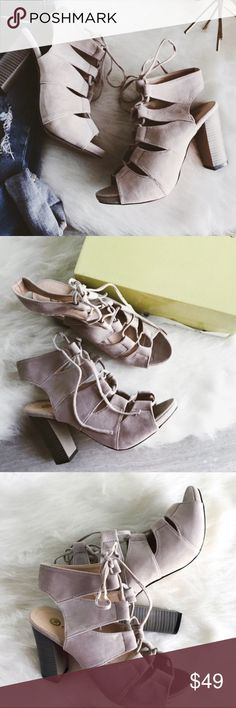 """chase & chloe cutout open toe sandals Chase & Chloe  Taupe cutout block heel sandals. Cutout heel. The heels are a beautiful grayish-taupe color. Open toe. Lace up. Heel height is approx 3.5"""". Length of shoe from heel to toe is approx 9""""  size: 9 condition: new with box  *** all of my cover photos are edited; colors truest in remaining photos chase & chloe Shoes Sandals"""