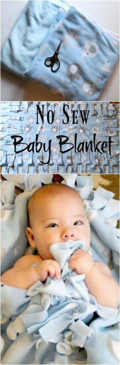 How To Make a No Sew Baby Blanket. No Sew Fleece Blanket Tutorial #FreeToBe #Ad
