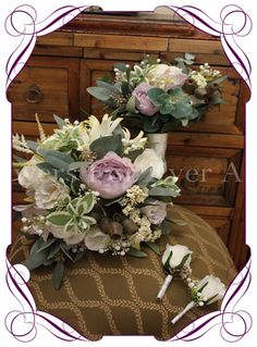 silk bridal flower package with artificial mauve peonies roses lisianthus babies breath orchids garden flowers, rustic wedding