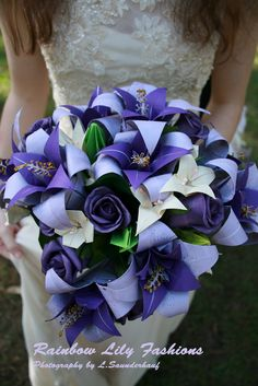 Origami bouquet made for our wedding by the groom! Origami Bouquet, Origami Rose, Paper Bouquet, 3d Origami, Purple Wedding, Floral Wedding, Wedding Flowers, Origami Wedding, Wedding Paper
