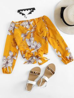 Shop Floral Print Random Bow Tie Surplice Top at ROMWE, discover more fashion styles online. Girls Fashion Clothes, Fashion Outfits, Fashion Flatlay, Fashion Blogs, Sporty Outfits, Style Fashion, Cute Blouses, Blouses For Women, Romwe