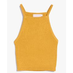 Stelen Gene Top in Mustard ($62) ❤ liked on Polyvore featuring tops, yellow crop top, crop top, ribbed crop top, stretchy tops and ribbed top