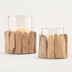 These driftwood hurricane candle holders would make great centerpieces for a #beach #wedding
