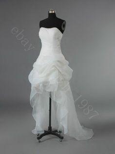 2014 New Sexy White/Ivory Strapless Wedding Dresses Hi-Lo Bridal Gown Custom W1