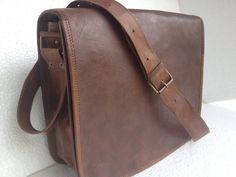 leather messenger bag 13inch leather full flap cross body mini Laptop bag I PAD / Retro Satchel/ shoulder bag. $65.00, via Etsy.