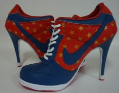 Womens Navy Blue and Red Nike High Heels SB Dunk Low