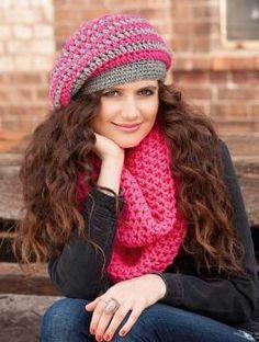 Free crochet pattern- women's slouch beanie & scarf
