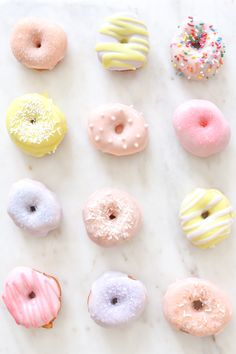 This might be the cutest and sweetest day of the year! I've never made donuts before, but I've wanted to check this recipe off my bucket list for so long now! This is a super Mini Donuts, Cute Donuts, Donut Icing, Doughnut, Icing For Donuts Recipe, Cute Desserts, Dessert Recipes, Macaroons, Mini Donut Recipes
