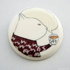 Tea time brooch illustrated porcelain by por AtelierGilet en Etsy, $26.00