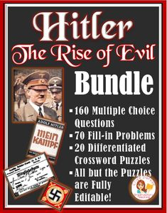 Hitler: The Rise of Evil Worksheets-- Multiple Choice: Editable & Examview! Teaching History, Teaching Resources, Teaching Ideas, Crossword Puzzles, Multiple Choice, Color Activities, Teaching Materials, World History, Social Studies