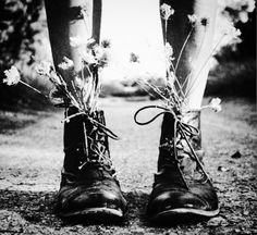 Flower's in her boots!!!.