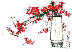 (North Korea) Red plum blossoms, 2001 by Lee Hwa-sik ). brush watercolor on paper. Chinese Painting Flowers, Red Plum, Sumi Ink, China Art, North Korea, Blossoms, Oriental, Watercolor, Paper