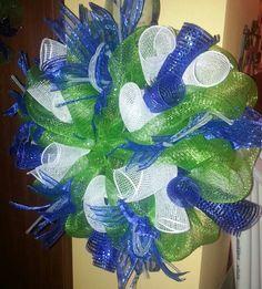 My Seattle Seahawks themed mesh wreath!!