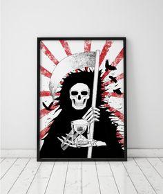 Grim Reaper Print Angel of Death Print Skeleton Wall Art Skull Decor Hourglass Instant Download Printable Art Prints Horror Art Dark