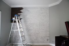 painting faux brick, by Bower Power Blog. She used faux brick paneling to make an accent wall in her son's nursery. It looks FANTASTIC!