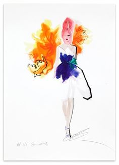 David Downton illustration of Stephen Jones for Dior (Hong Kong Tatler)  2011. From www.fashionillustrationgallery.com.